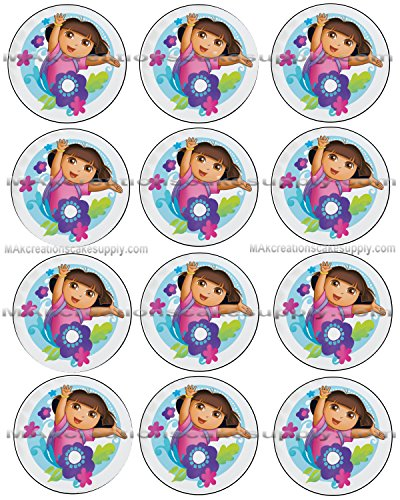 Dora the Explorer Flowers Licensed Edible Cupcake / Cookie Toppers ~ 12 Per Sheet # 36881 -  MAK Creations Cake Supply