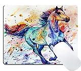 Wknoon Gaming Mouse Pad Custom Design Mat, Watercolor Running Horse Painting Art