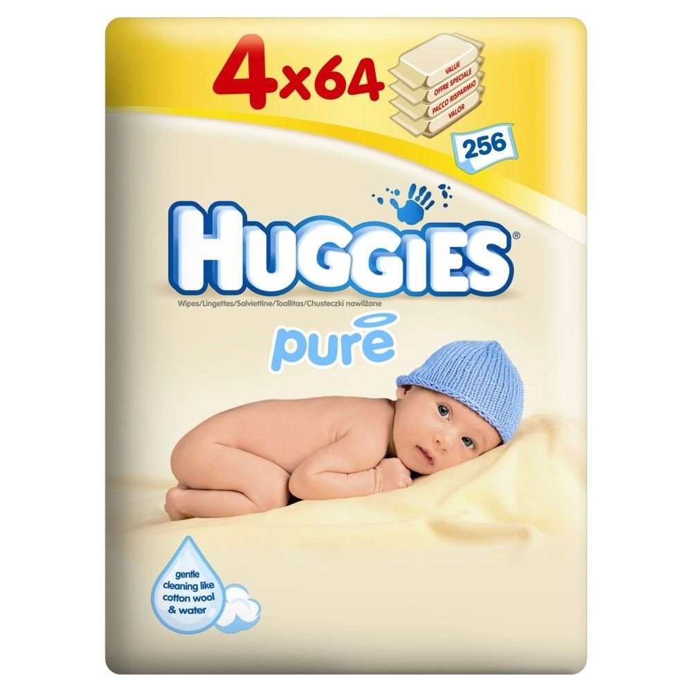 Huggies Pure Baby Wipes 4 x 64 per pack Kimberly Clark TRTAZ11A
