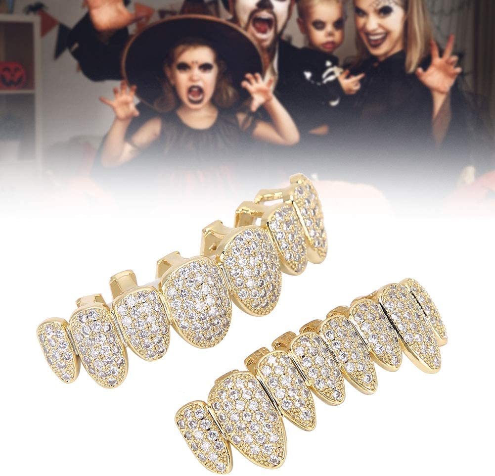 Denti hip-hop placcati oro Grillz Denti argento dorato diamante Argento Denti argento dorato Grillz Set tappi superiore e inferiore griglia rimovibili Denti hip-hop Punk Personalizzati Grillz