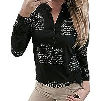 142cb2fb197e7 SHOBDW Mujeres V Cuello Blusa Pura Atractiva Grandes Suaves OL Ladies  Sueltas Camisas de Bolsillo Tallas