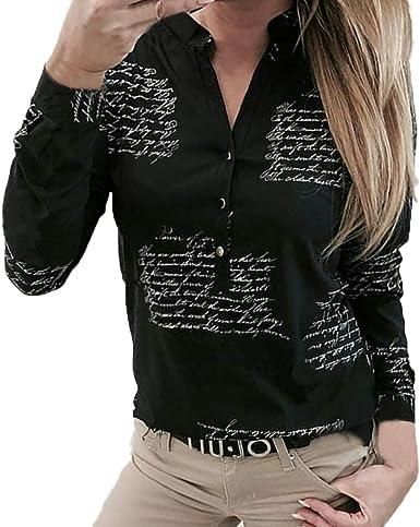 Camisa de Mujer, Moda Comodo Blusa Manga Larga Otoño Verano Camiseta Impresión Elegante Camisa Cuello en V Slim Fit Camiseta Casual Tops Fiesta T-Shirt Original vpass: Amazon.es: Ropa y accesorios