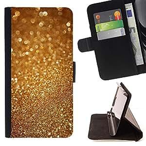BullDog Case - FOR/Samsung Galaxy A3 / - / gold dust sparkle glitter bling metal /- Monedero de cuero de la PU Llevar cubierta de la caja con el ID Credit Card Slots Flip funda de cuer