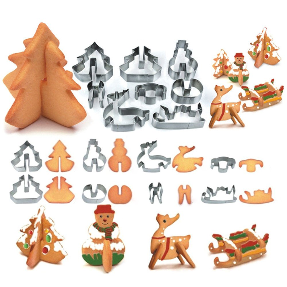 Christmas Cookie Cutters Set,8 Piece 3D Stainless Steel Cookie Cutters Including Christmas Tree, Snowman, Deer & Sled Shapes FollowYT
