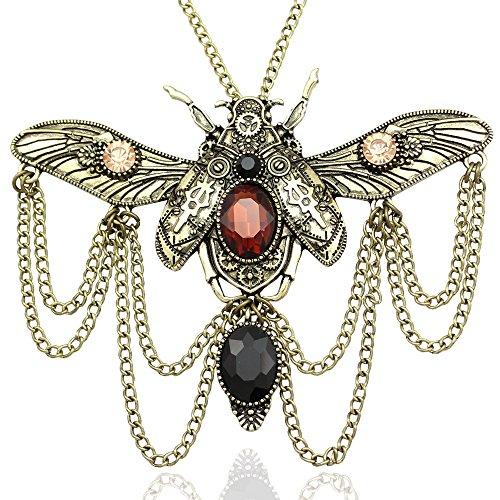 Gold Plated Q&Q Fashion Vintage Victorian Big Khepri Scarab Beetle Watch Clock Hand Gear Cog Steampunk (Big Clock Necklace)