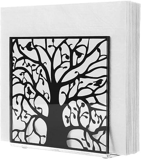 Natural Style Clear Acrylic Tree Bird Design Tabletop Napkin Holder Black Pattern Freestanding Tissue Dispenser Towel Tissue Holder