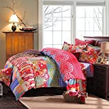 Newrara Girls Bedding Boho Bedding Hawaii Impression Bedding 100% Sanded Fabric Duvet Cover Set Pink 4 Pcs