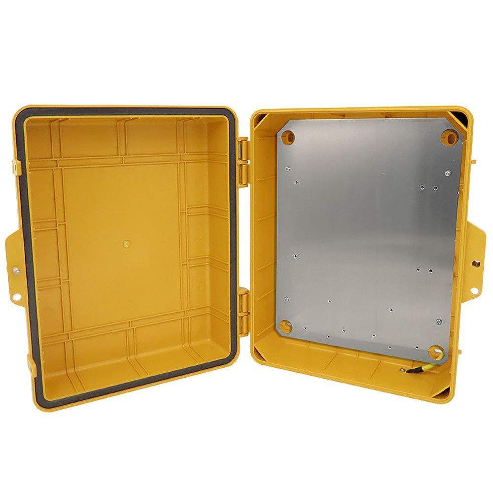 Altelix Yellow NEMA Enclosure (12'' x 8'' x 4'' Inside Space) Polycarbonate + ABS Weatherproof Tamper Resistant NEMA Box with Aluminum Equipment Mounting Plate