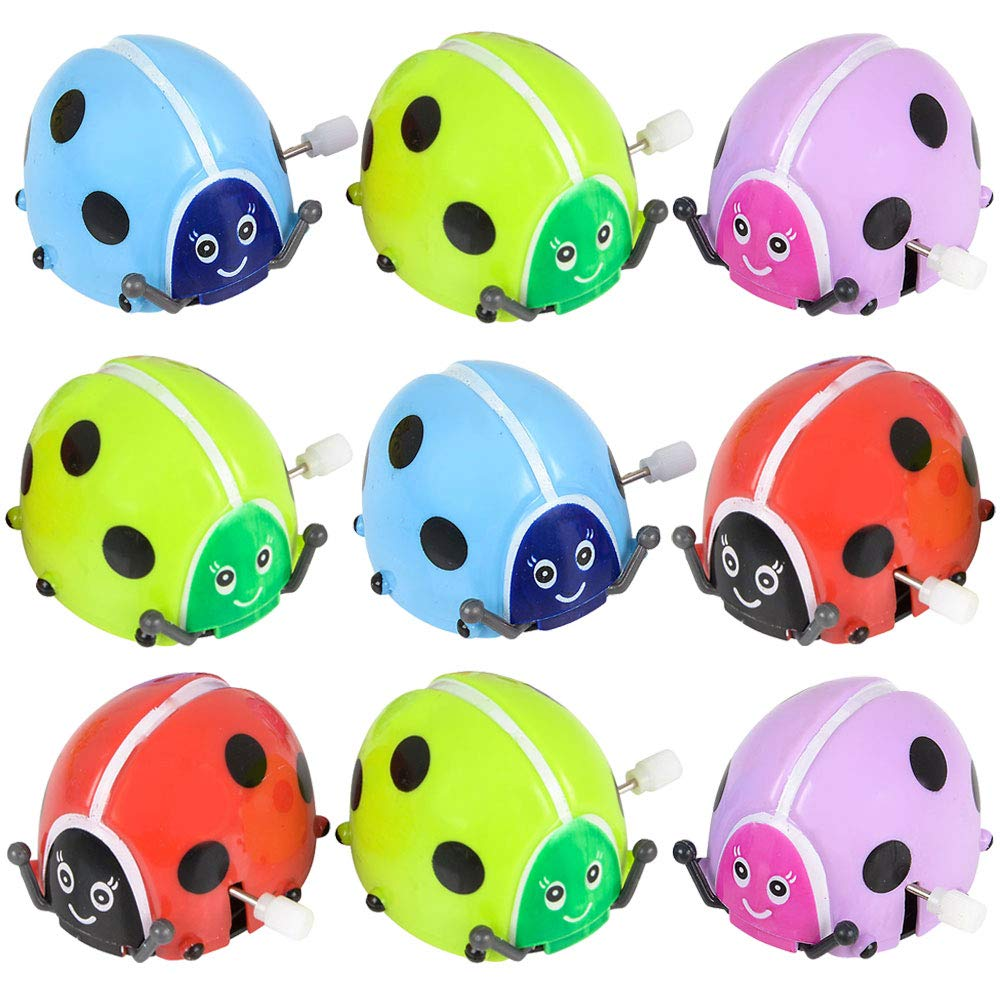 Flipping Wind Up Lady Bugs (Pack of 12) in Assorted Bright Colors, Runs,Rotates, and Flips,Party Bag Filler for Kids by Bedwina