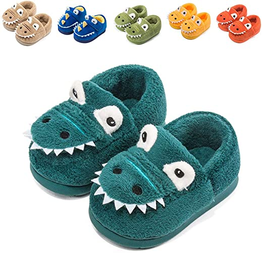 Enfants Chaussons Dino Pantoufles 31//32 33//34 35//36 peluche Chaussures Dinosaures NEUF