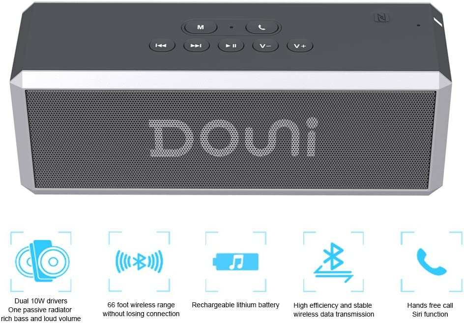 Douni A7 NFC LED Button Backlighting,Support Handsfree Calling 20W Portable Bluetooth Wireless Stereo Speaker with Enhanced Bass