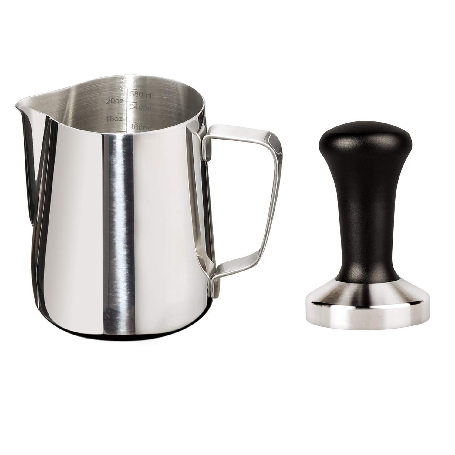 Joytata 20oz Milk Frothing Pitcher 58mm Stainless Steel Base Espresso Tamper-Milk Pitcher with Measurement Scale Stainless Steel Steam Pitcher Coffee Tamper Set Perfect for Espresso Machine-Froth Cup