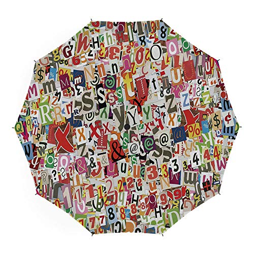 Compact Folding Travel Umbrella Windproof Waterproof,Old Newspaper Decor,Auto Open Close Umbrella 45 Inch,Various Kinds of Newpaper Magazine Letters Cutouts Alphabet Collection Decorative