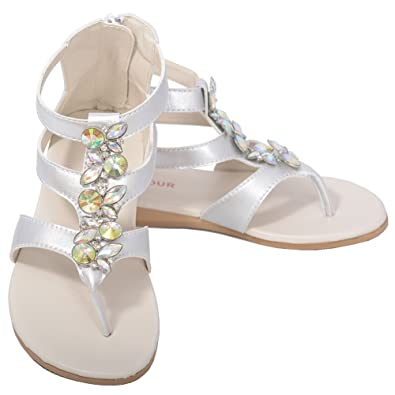 b269f74361ffc6 L Amour Silver Jeweled Gladiator T Strap Spring Sandal Toddler Girl 7