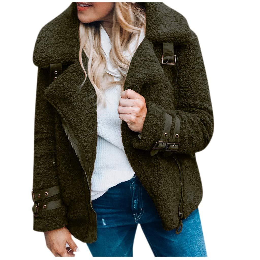 Tomatoa Winter Warm Women Teddy Fleece Soft Warm Long Sleeve Lapel Pullover Blouse Open Front Jacket Coat Long Outerwear