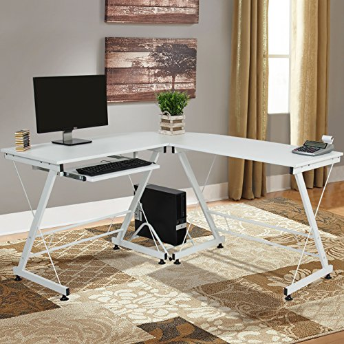Best Choice Products Wood L-Shape Corner Computer Desk PC Laptop Table Workstation Home Office White (Corner White Desks)