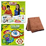 Crayola Emoji Stamp Maker, Marker Maker, Gift, Ages 6, 7, 8, 9, 10, 11, 12 (2) and Crayola Color Spinout, Spin Art with Markers, Gift, Ages 5, 6, 7, 8, 9 PLUS Cleaning Cloth