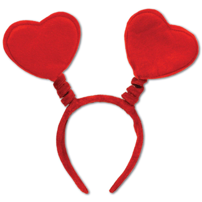 Amazon.com: Valentine's Day Red Heart Head Boppers Headband ...