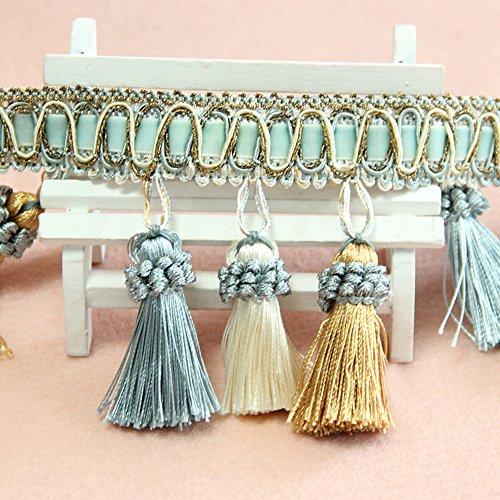 "MINO 1202 3.1"" X13.6YD Whole sale Ten Colors Handmade Beaded Tassel Fringe Trimming For Crutain Fringe Ball 40 Lines Per meter"