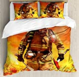 Lunarable Fireman Queen Size Duvet Cover Set, Firefighter Figure in a Building on Fire Searching for Survivors Emergency Services, Decorative 3 Piece Bedding Set with 2 Pillow Shams, Multicolor
