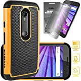Motorola Moto G 2015 [Also Known as Moto G 3rd Generation 2015] Cyber Defender Case - Orange by ElBolt with Free HD Screen Protector