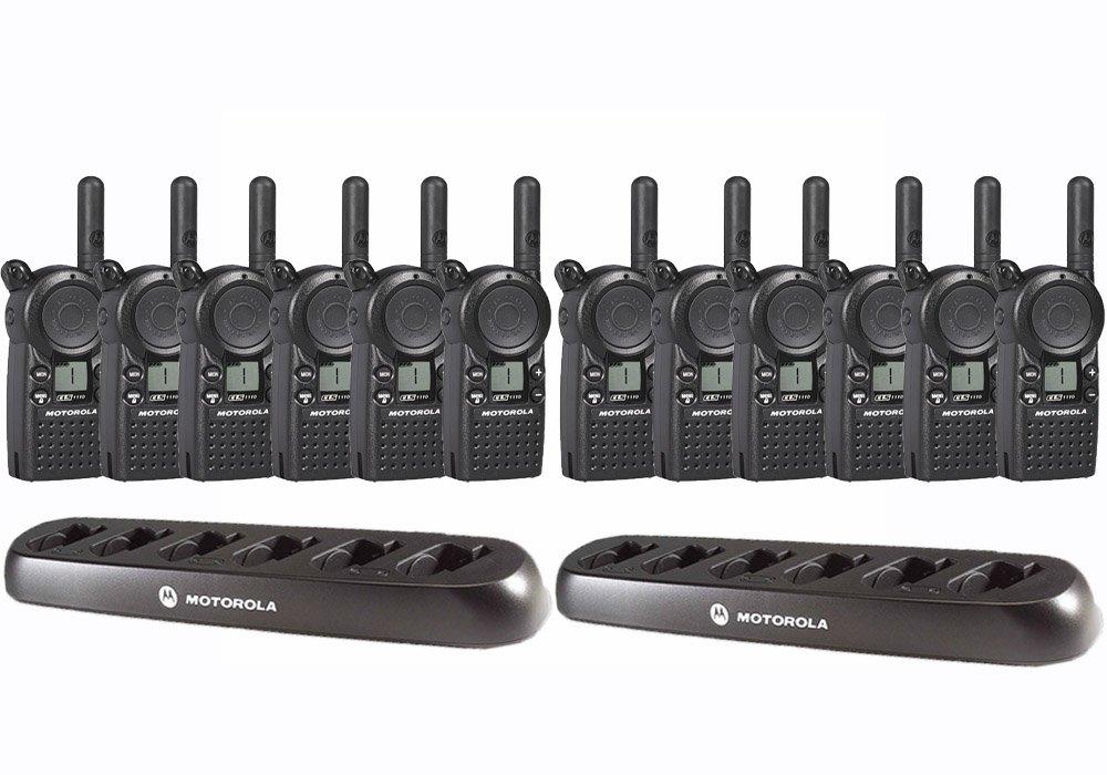12 Motorola CLS1110 Two Way Radio Walkie Talkies + 2 Multi Chargers Set of 12 UHF Radios