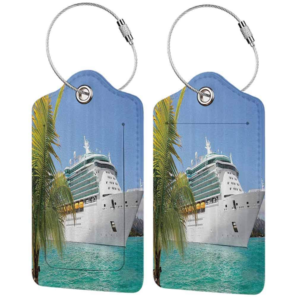Soft luggage tag Cruise Ship Decor Collection Cruise Ship Sailing from Port Vacation Tropic Relaxation Traveling Sunshine Maritime View Bendable Aqua W2.7 x L4.6