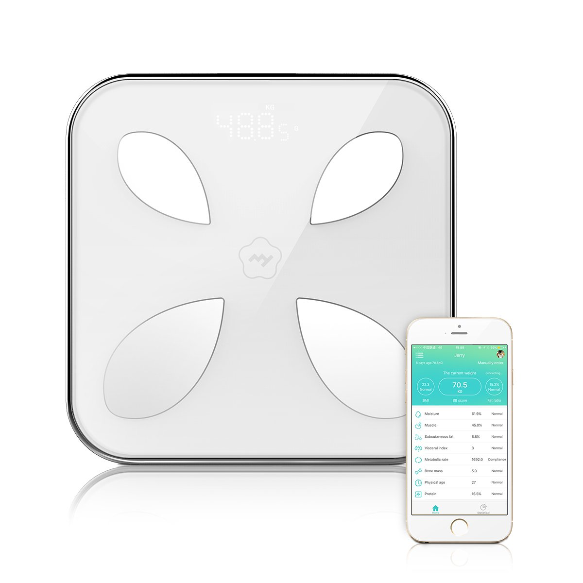 lemonda escala de grasa corporal Bluetooth Smart - Báscula inteligente báscula digital analizador de grasa corporal de baño con el smartphone App Inglés: ...