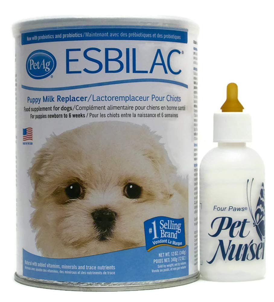 Esbilac Puppy Milk Replacement Powder 12 oz with Four Paws Pet Nurser Bottle Bundle