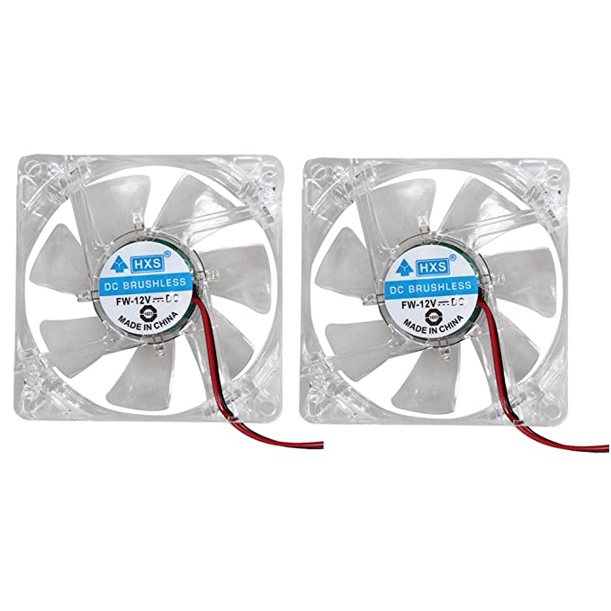 2X 1200 RPM 80mm 80x25mm Fan 4 LED Blue 4pin for Computer PC Case Cooling Cooler