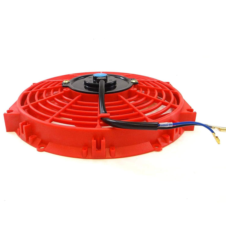 Set of 2 Universal 10 inch Slim Fan Push Pull Electric Radiator Cooling 12V Mount Kit RED