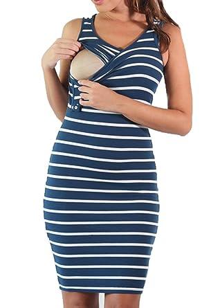 8b4a21b46d1dc Breastfeeding Dresses for Pregnant Women,Maternity Breastfeeding Nursing  Clothing Dark Blue