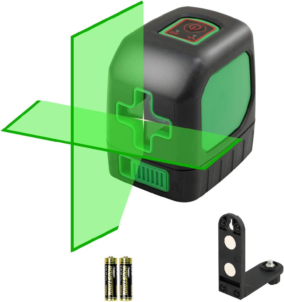 DLEADER Cross Line Laser Green with Switchable Self-Leveling Horizontal and Vertical Cross-Line Laser Rotatable 360 Degree with Flexible Magnetic Base Laser Level Battery Included(Green)