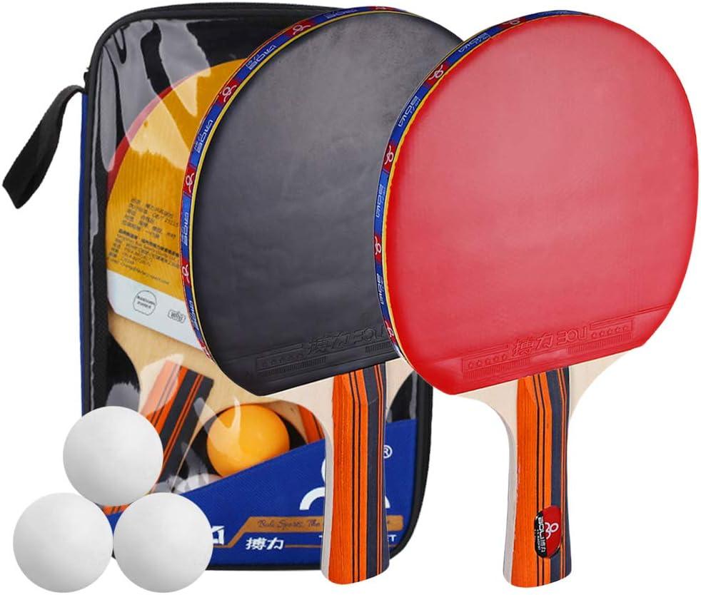 TOMSHOO Kit de Raquetas Tenis de Mesa, 2 Palas de Ping Pong 3 Bolas con Bolso para Deportes al Aire Libre en Interiores