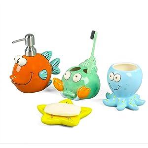 FORLONG FL3016 Crabs Seashell Starfish Octopus Fish, Nemo Fish Ceramic Bathroom Accessories Set of 4:1 Tumbler,1 Toothbrush Holders,1 Soap Dishes,1 Soap Dispenser