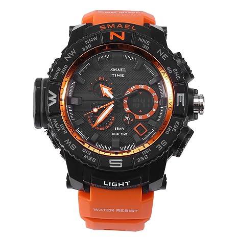 Reloj deportivo digital, 4Colors SMAEL analógico y digital de doble pantalla LED Back Light luminoso