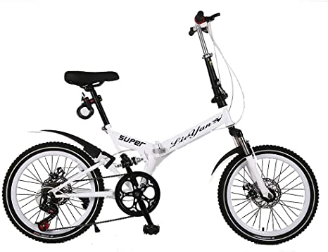 ANJING Bicicleta Plegable Ligera, Acero al Carbono 6 Velocidades ...