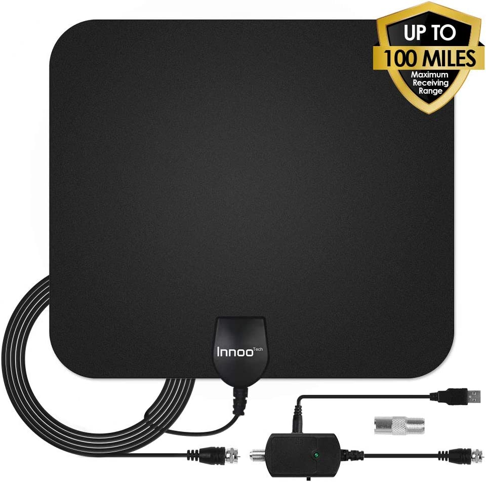TV Antenna - HDTV Antenna Support 4K 1080P, 60-100 Miles Range Digital Antenna for HDTV, VHF UHF Freeview Channels Antenna with Amplifier Signal Booster, 16.5 Ft Longer Coaxial Cable