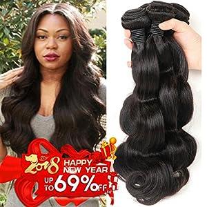 Bestsojoy 8A Brazilian Virgin Hair 4 Bundles Body Wave Cheap Brazilian Hair Weave Bundles Remy Human Hair Extensions Natural Black Color (18 20 22 24)
