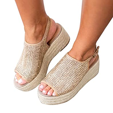 6fb25ff3bc7 Athlefit Women s Espadrille Wedge Sandals Braided Jute Ankle Buckle  Platform Sandals Size 5.5 Beige