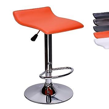 nouveau concept ad583 ab078 CCLIFE Tabouret de bar 1/2 chaise de bar sans dossier réglable en hauteur  Cuisine pivotante en cuir synthétique 58-78 cm, Couleur:Orange, Size:1pc-Set