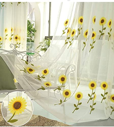 TIYANA Flower Curtain Sheer Panel Backdrop for Living Room Extra Wide Sun Flowers Embroidered White Sheer Gauze Tulle Voile Custom Window Curtain Panel 1 Piece 114 inch Wide by 96 inch Long