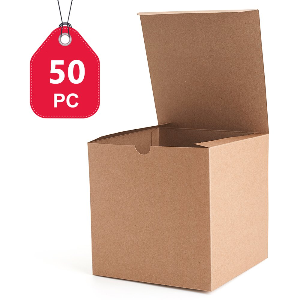 MESHA Kraft Brown Boxes 50 Pack 6 x 6 x 6 Inches, Paper Gift Boxes with Lids for Gifts, Mugs, Cupcake Boxes