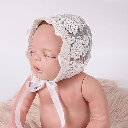 OULII Bebé recién nacido niña encaje cinta de seda ajustable tapa ...