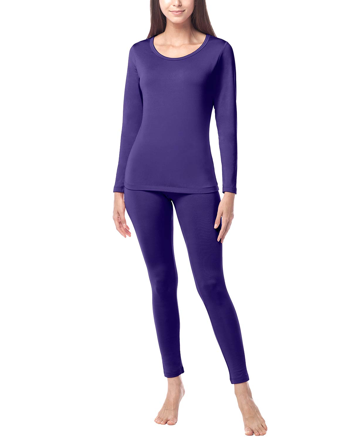 LAPASA Women's Lightweight Thermal Underwear Long John Set Fleece Lined Base Layer Top and Bottom L17 (XX-Large, Purple) by LAPASA