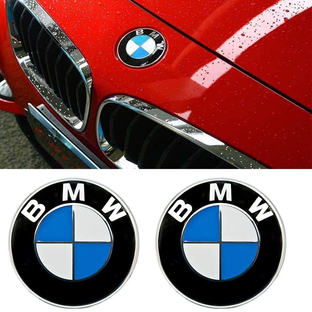 DigHealth 2 Stück 82mm Emblem Motorhaube oder Heckklappe Blau & Weiß Logo für BMW, Haube Logo Vorne Hinten Motorhaube Kofferraum für BMW E36 E39 E46 E60 E70 F10 X5 X6 YTM
