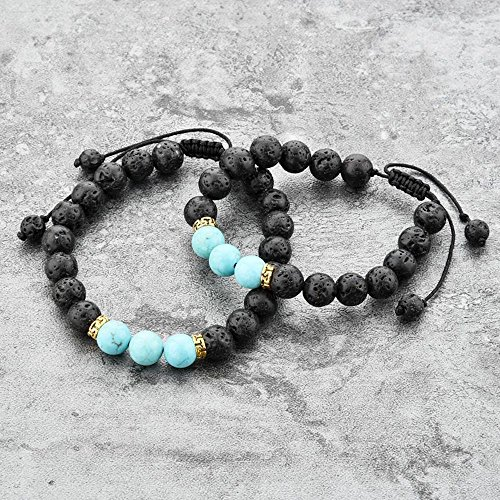 Mystiqs Kids and Adult Adjustable Matching Lava Rock Beaded Stone Bracelets Essential Oil Diffuser for Aromatherapy Ideal for Anti-Stress or Anti-Anxiety
