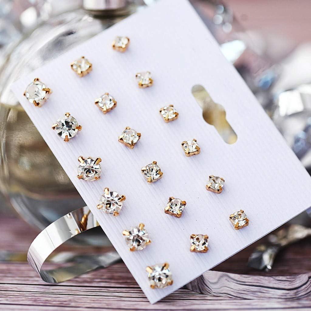 LLguz Earrings Simple Inlaid Diamond Flower Pearl Studs Pendant Alloy Earring Jewelry for Women Ladies