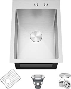 X Home 15 x 20 Inch Drop in Topmount Sink, 304 Stainless Steel Kitchen Sink, 16 Gauge Single Bowl Bar Prep Sink with R10 Corners