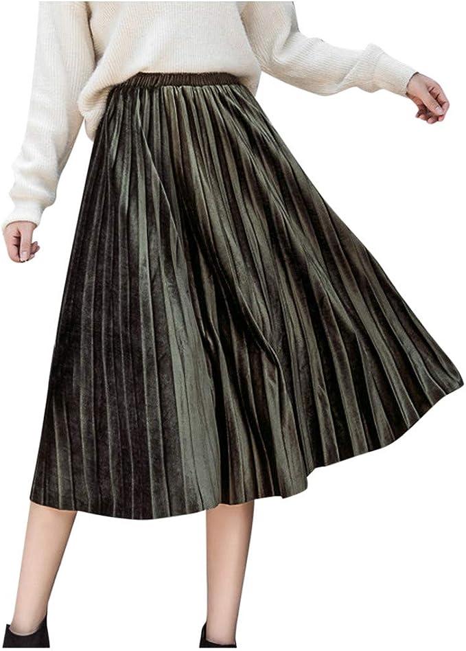 Falda para Mujer, Lenfesh Falda de Mujer sólida Falda Plisada ...